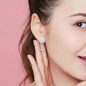 Lollipop pink crystal earrings
